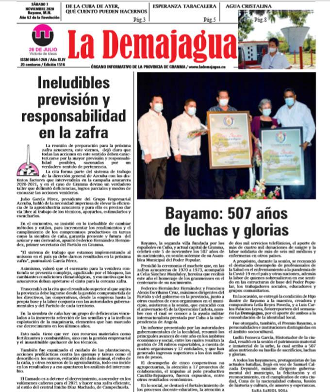 Edición impresa 1516 del semanario La Demajagua, sábado 7 de noviembre de 2020