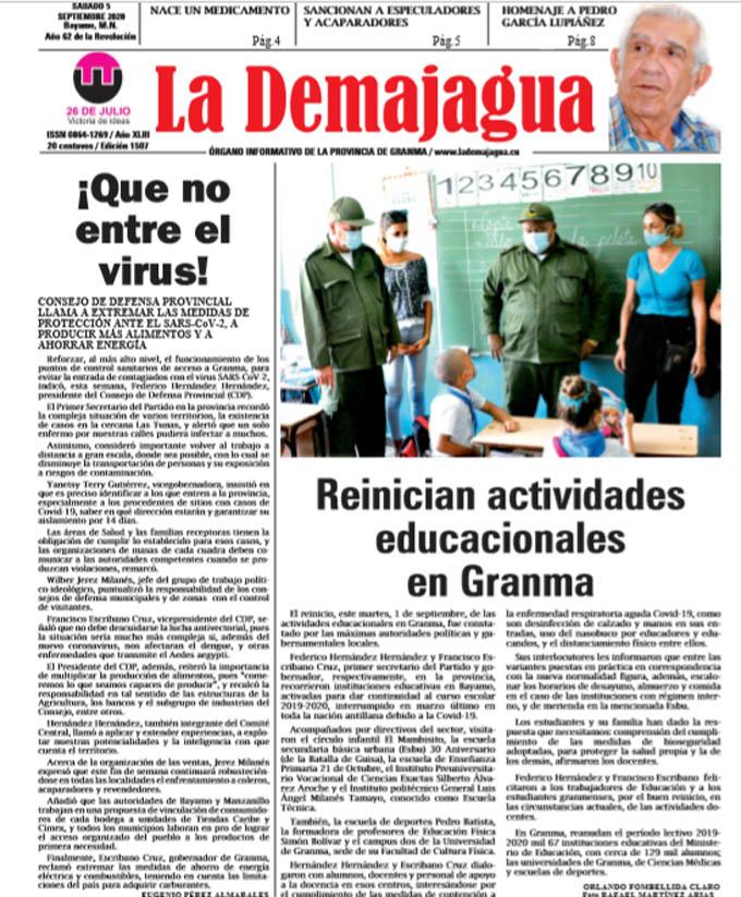 Edición impresa 1522 del semanario La Demajagua, sábado 19 de septiembre de 2020