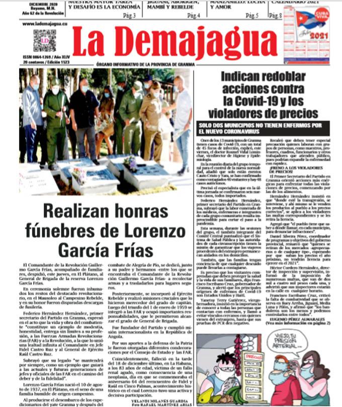 Edición impresa 1523 del semanario La Demajagua, sábado 26 de diciembre de 2020