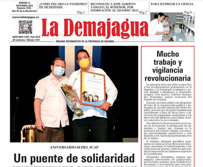 Edición impresa 1521 del semanario La Demajagua, sábado 12 de diciembre de 2020