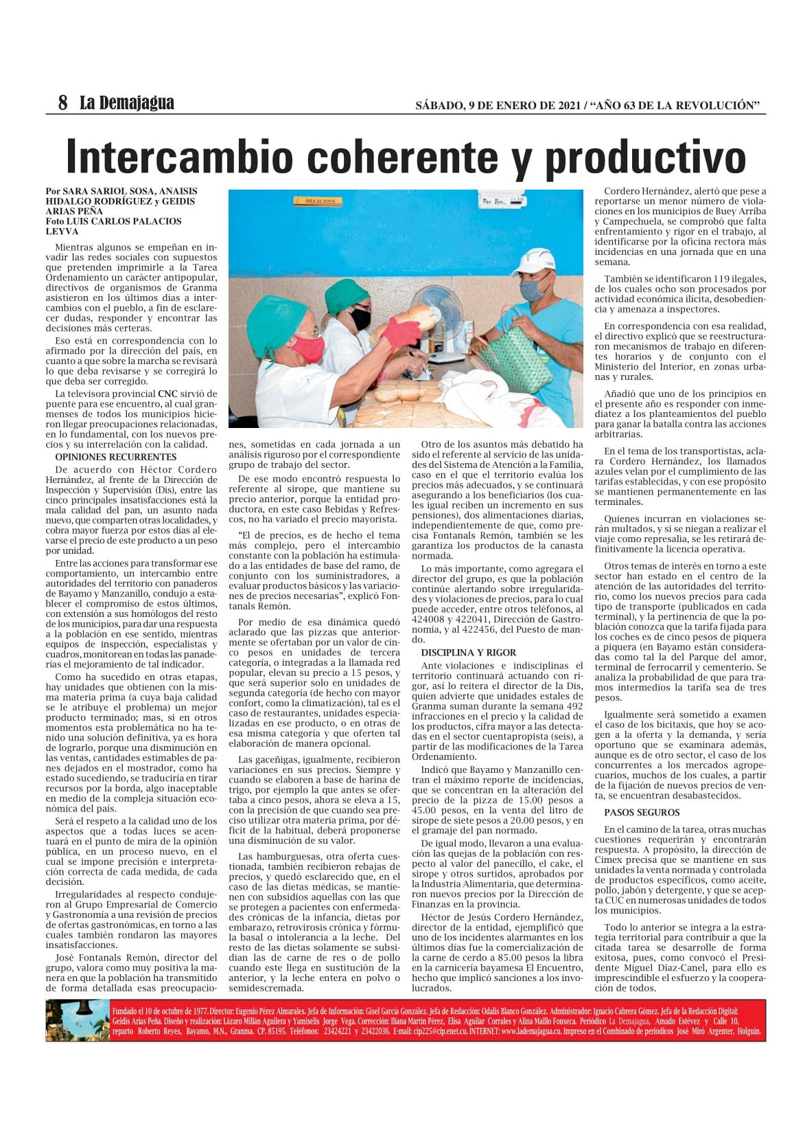 Edición impresa 1525 del semanario La Demajagua, sábado 9 de enero de 2021