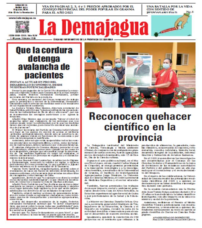 Edición impresa 1526 del semanario La Demajagua, sábado 16 enero de 2021