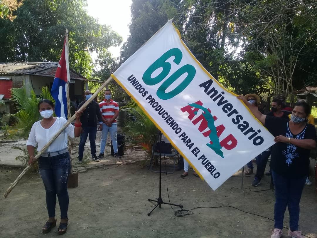 Bandera de organización campesina entre manzanilleros