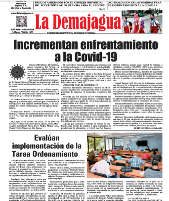 Edición impresa 1527 del semanario La Demajagua, sábado 23 de enero de 2021