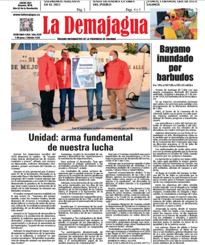 Edición impresa 1524 del semanario La Demajagua, sábado 1 enero de 2021