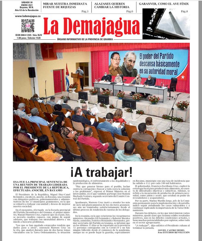 Edición impresa 1528 del semanario La Demajagua, sábado 30 de enero de 2021
