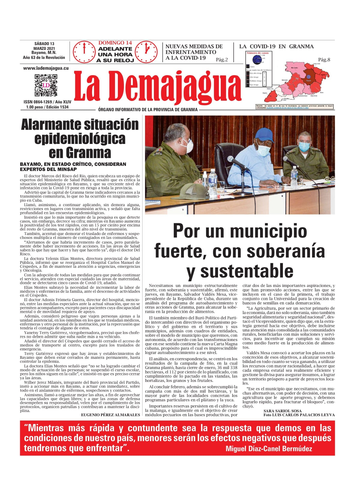Edición impresa 1532 del semanario La Demajagua, sábado 27 de febrero 2021