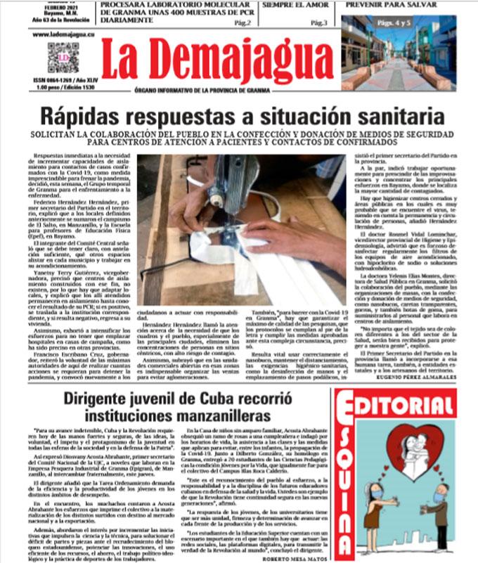 Edición impresa 1530 del semanario La Demajagua, sábado 13 de febrero 2021