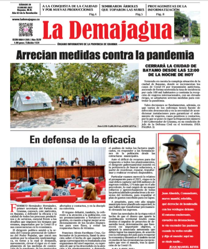 Edición impresa 1531 del semanario La Demajagua, sábado 20 de febrero de 2021