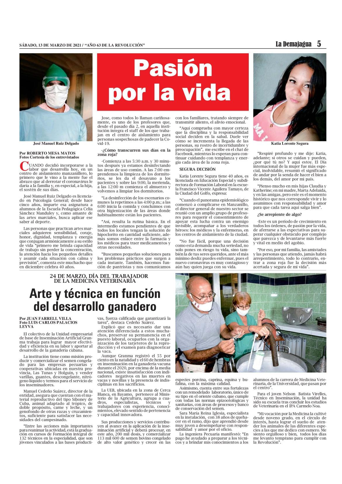 Edición impresa 1534 del semanario La Demajagua, sábado 13 de marzo de 2021