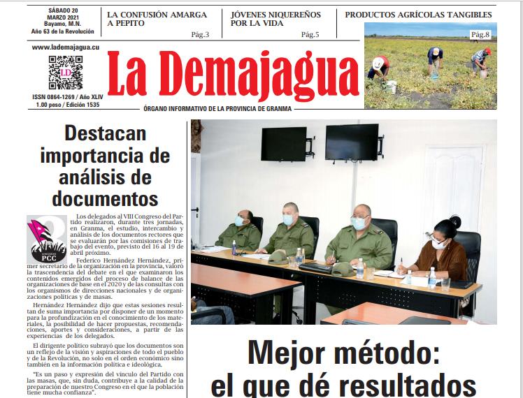 Edición impresa 1535 del semanario La Demajagua, sábado 20 de marzo de 2021