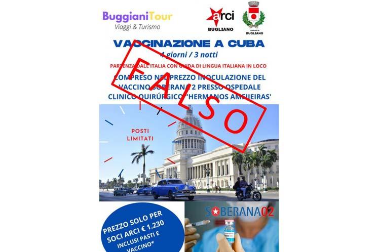 Desmienten en Italia turismo a Cuba para vacunación anticovid-19