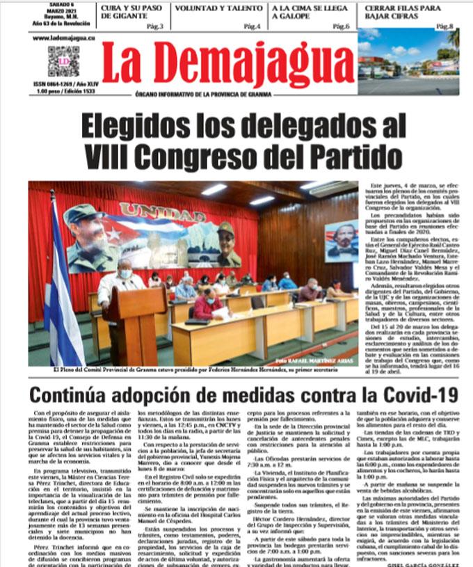 Eición impresa 1533 del semanario La Demajagua, sábado 6 de marzo de 2021