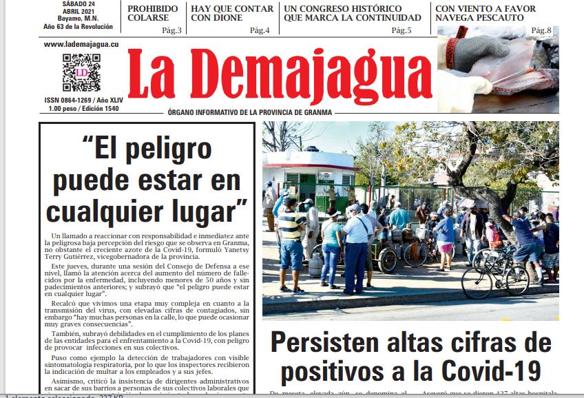 Edición impresa 1540 del semanario La Demajagua, sábado 24 de abril de 2021