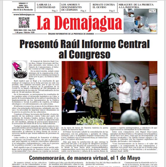 Edición impresa 1539 del semanario La Demajagua, sábado 17de abril de 2021