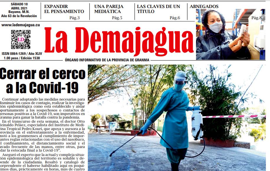 Edición impresa 1538 del semanario La Demajagua, sábado 10 de abril de 2021