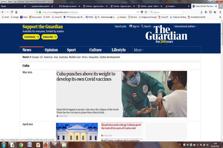 Diario británico elogia esfuerzos de Cuba por vacunas antiCovid-19
