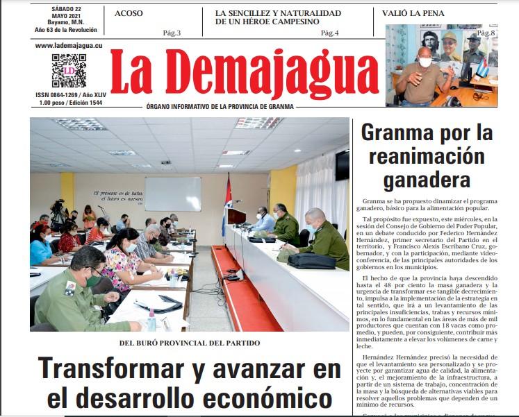 Edición impresa 1544 del semanario La Demajagua, sábado 22 de mayo de 2021
