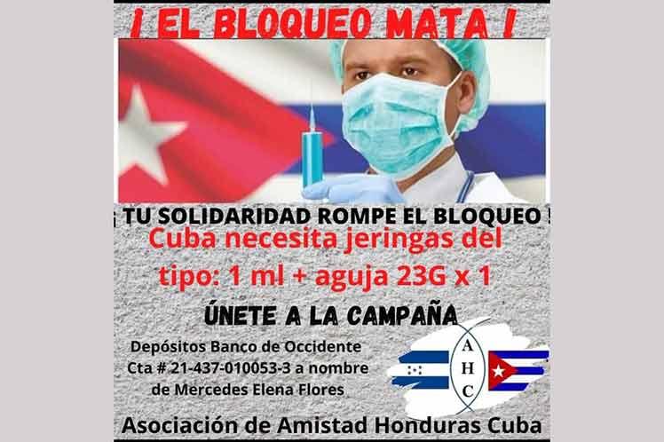 Campaña jeringas para Cuba progresa en Honduras