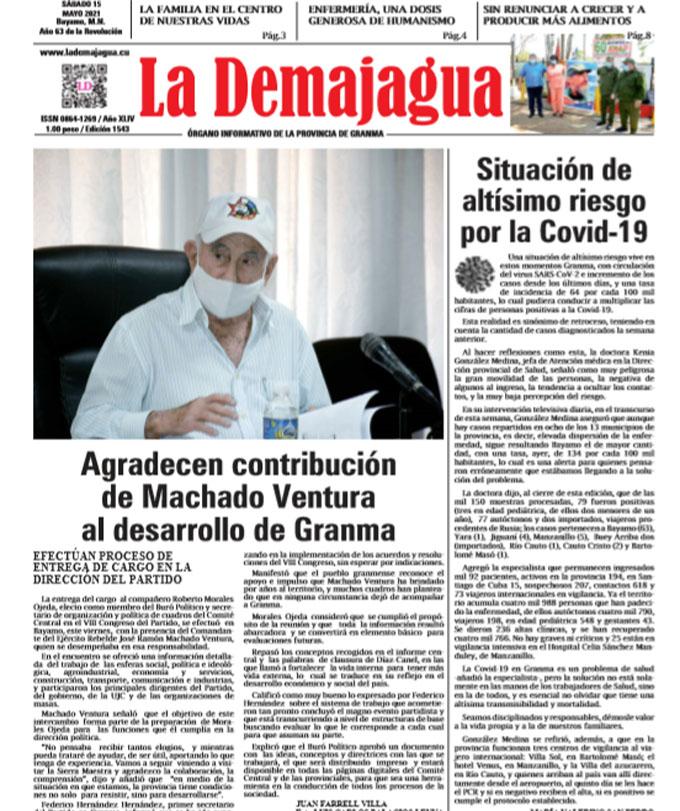 Edición impresa 1543 del semanario La Demajagua, sábado 15 de Mayo de 2021