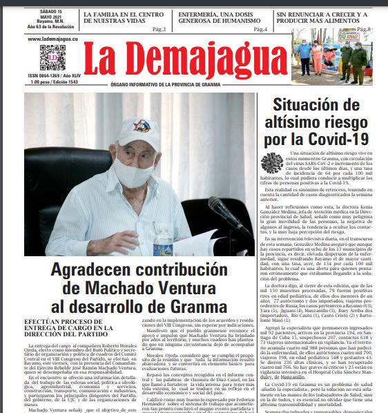 La edición impresa 1545 del semanario La Demajagua, sábado 29 de mayo de 2021