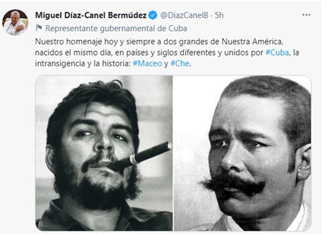 Rinde homenaje Presidente cubano a Antonio Maceo y Ernesto Che Guevara