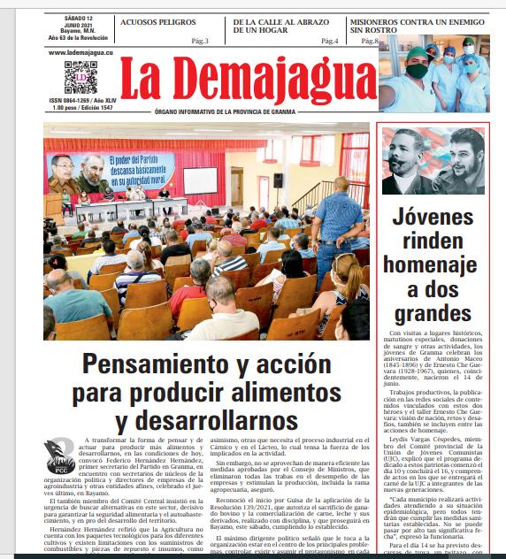 Edición impresa 1547 del semanario La Demajagua, sábado 12 de junio de 2021