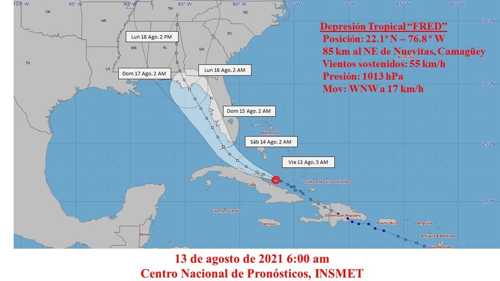 Depresión tropical Fred moviéndose por los mares al norte de Las Tunas
