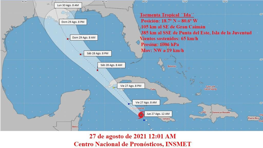 Tormenta tropical Ida algo más fuerte se aproxima al occidente
