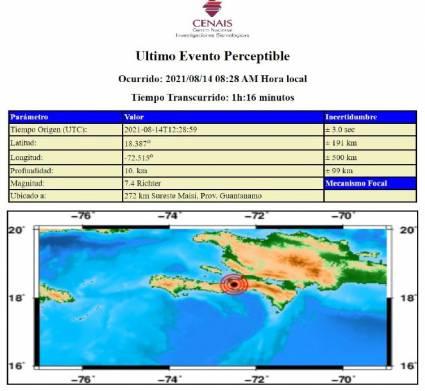 Registran sismo con magnitud de 7.4 al oriente de Cuba