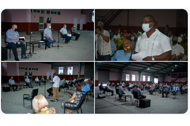 Presidente de Cuba dialoga con líderes comunitarios en el barrio de San Isidro