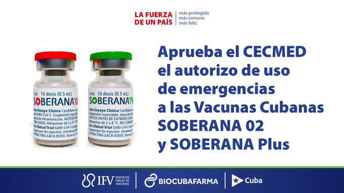 Soberana 02 + Soberana Plus ya son vacunas