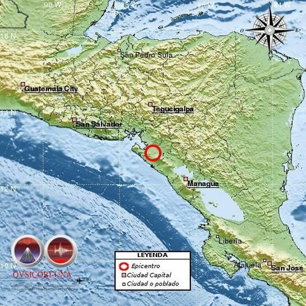 Sismo de 6,2 grados estremece el Pacífico de Nicaragua