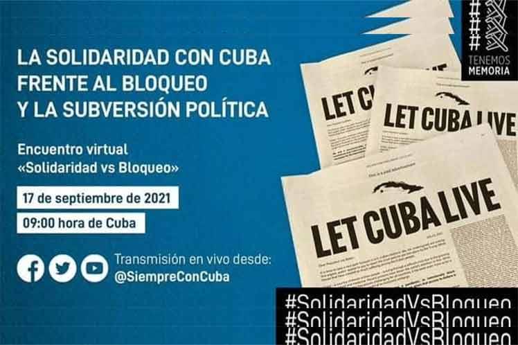 Evento virtual suma voces solidarias contra bloqueo a Cuba